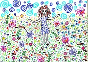Cartoon Drawings - Girl in a Field by Sarah Loft
