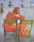 Girl In A Red Dress Reading By A Swimming Pool Print by Sir John Lavery