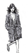 Trench Drawings - Girl In a Trench Coat by Cody Smith