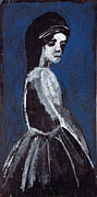 Expressionist Posters - Girl in a White Dress Poster by Edgeworth Johnstone