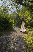 Flowing Hair Posters - Girl In Country Lane Poster by Christopher and Amanda Elwell