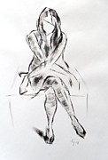 Atmospheric Drawings Prints - Girl in dress sitting Print by Mike Jory