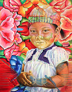 Indigenous Prints - Girl in flowers Print by Karina Llergo Salto