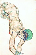Schiele Posters - Girl in Green Bonnet Poster by Pg Reproductions