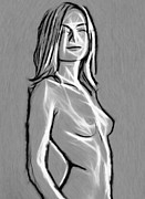 Grey Pastels Prints - Girl in Grey Print by Stefan Kuhn