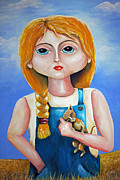 Overalls Originals - Girl in Hay Field by Ruben  Flanagan