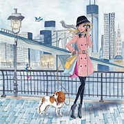Cute Mixed Media Framed Prints - Girl in New York Framed Print by Caroline Bonne-Muller