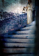 Stone Steps Prints - Girl in Nightgown on Circular Stone Steps Print by Jill Battaglia