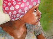 Degroat Painting Originals - Girl in Pink Bandanna by Gregory DeGroat