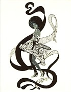 Dancing Girl Drawings Prints - Girl in Polkadot Dress Print by Sigrid Tune