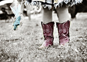 Cowgirl Skirt Posters - Girl in Red Boots Poster by Angela Bonilla