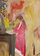 Desk Paintings - Girl in Red by Debbie  Downs