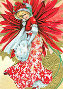 Cards Vintage Digital Art Prints - Girl in Red Print by Munir Alawi