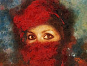 Girl In Turban Prints - Girl in Red Turban Print by Mo T