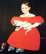 Cat Prints Framed Prints - Girl In Red with her Cat and Dog Framed Print by Pg Reproductions