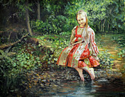 Eugene Maksim Prints - Girl in the forest  Print by Eugene Maksim