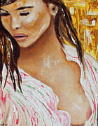 Silk Paintings - Girl in the silk blouse by Tara Richelle