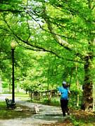 Girl Jogging With Dog Print by Susan Savad