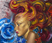 Canvas Mixed Media Metal Prints - Girl Metal Print by Lyubomir Kanelov