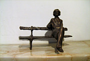 Figurine Sculpture Framed Prints - Girl on Bench Framed Print by Nikola Litchkov