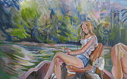 Trolling Prints - Girl On Boat Print by Devin Hunter