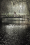 Romantic Floral Posters - Girl On Bridge Poster by Joana Kruse