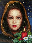 For Tapestries - Textiles Originals - Girl on Christmas Eve by Petya Petrova