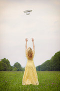 Tossing Prints - Girl On Meadow Print by Joana Kruse
