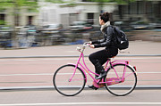 Girl On Pink Bicycle Print by Oscar Gutierrez