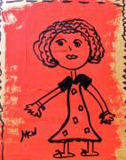 Primitive Raw Art Art - Girl on Red by Mary Carol Williams