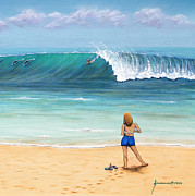Girl On Surfer Beach Print by Jerome Stumphauzer