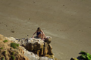 Coastal Metal Prints - Girl On The Rocks - Compton Bay Metal Print by Rod Johnson