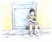 Little Girls Mixed Media Originals - Girl on the Stoop by Monica Cohen