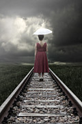 Umbrella Posters - Girl On Tracks Poster by Joana Kruse