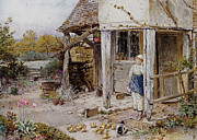Country Cottage Prints - Girl Outside a Cottage Print by Forest Myles Birket