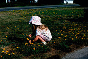 Little Girl Prints - Girl Picking Flowers Print by Ken Branch