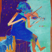 Playing Painting Originals - Girl playing the violin by Kefah Abduljabbar
