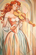 High Fashion Originals - Girl Playing Violin  by Kate Snig