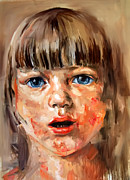 Surprise Drawings Prints - Girl Portrait Print by Michael Tsinoglou