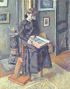 Stool Paintings - Girl Reading a Book by Charles Francois Prosper Guerin