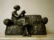 Impressionism Sculpture Prints - Girl reading a letter Print by Nikola Litchkov