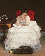 Lace Dress Prints - Girl Reading Print by Alfred Emile Stevens