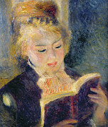 Bible Painting Prints - Girl Reading Print by Pierre Auguste Renoir