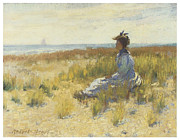 Girl Seated By The Sea Print by Robert Henri