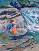 All - Girl Sitting on Rock by Water Falls by Betty Pieper