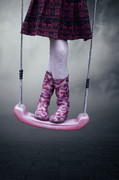 Pink Shoes Prints - Girl Swinging Print by Joana Kruse