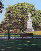 Lamppost Paintings - Girl Waiting at Southampton Watts Park by Martin Davey