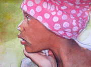 Degroat Painting Originals - Girl Wearing Polka Dot Bandanna by Gregory DeGroat