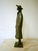 Girl Sculpture Posters - Girl with a coat and hat Poster by Nikola Litchkov