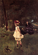 Little Girl Prints - Girl With A Duck Print by Alfred Stevens